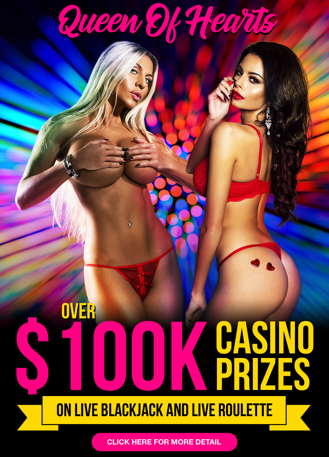 Queen of Hearts live casino bonus Prizes 100K!